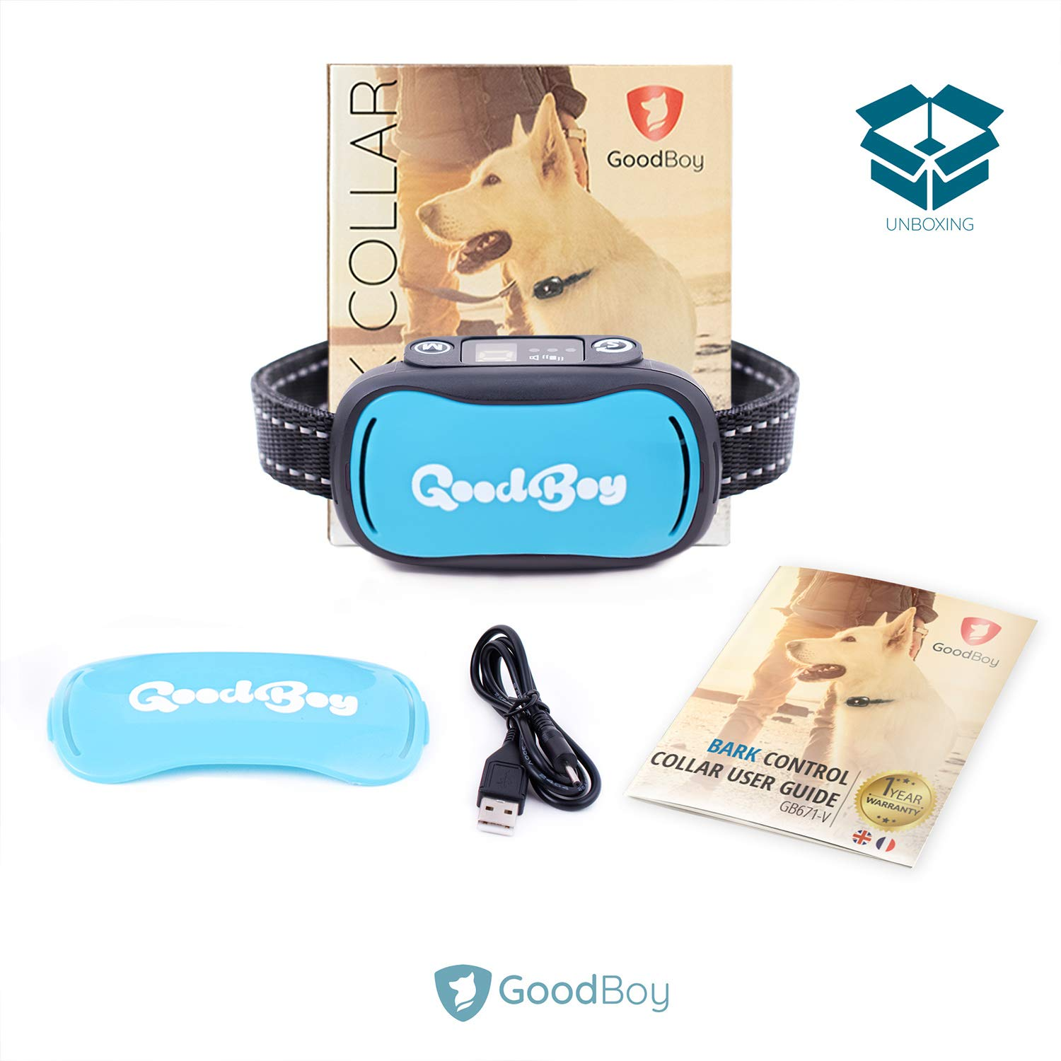 Sound or Vibration Modes Control Unwanted Barking Medium and Large Breeds Rechargeable No Bark Training Device New 2019 Sensor /& Chip Upgrade GoodBoy Small and Humane Dog Bark Collar for Little