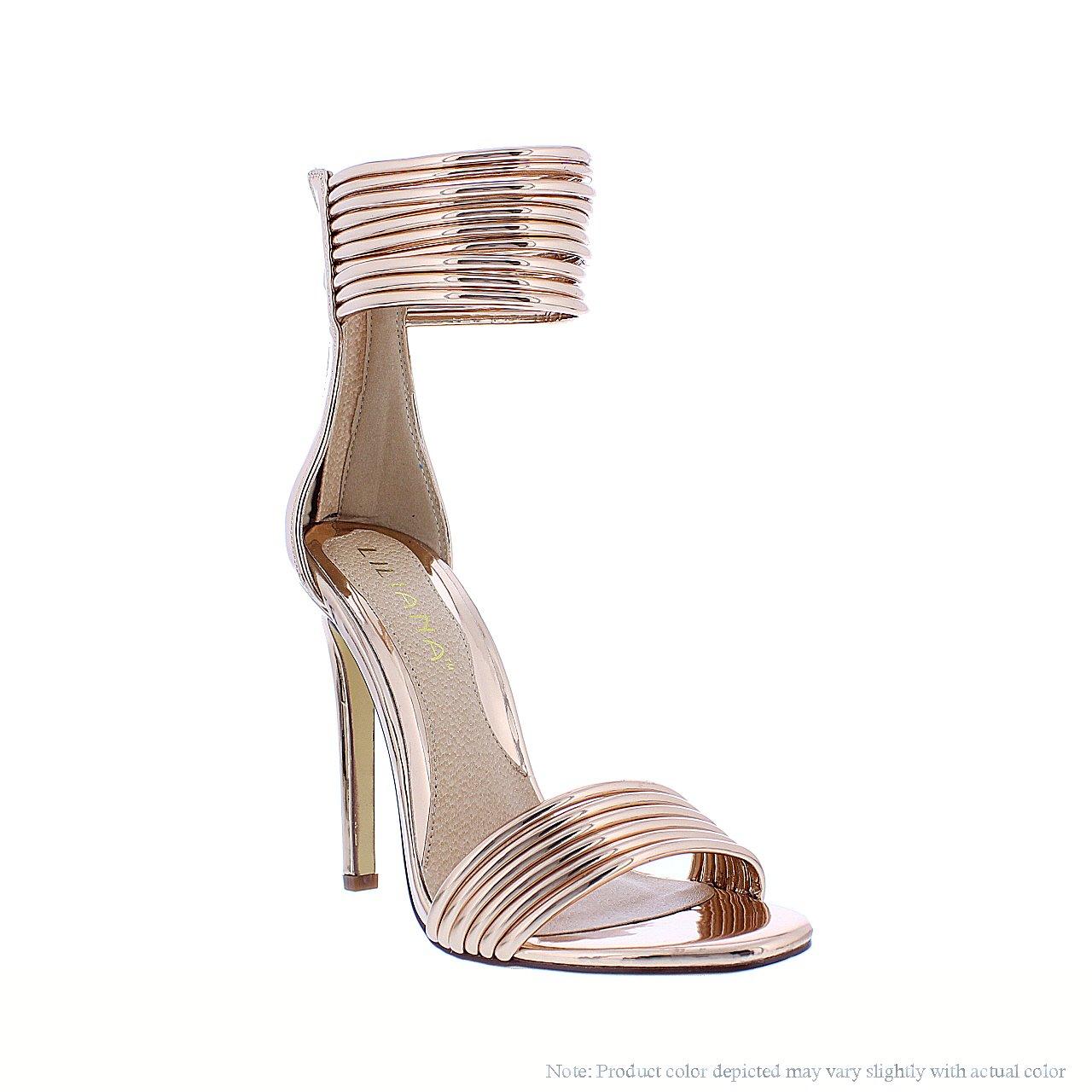 fa6f7e04cd9 Amazon.com  Liliana Shoes Women s Simple Peep Toe Heel Rosegold Donna 1A  Size 5.5  Shoes