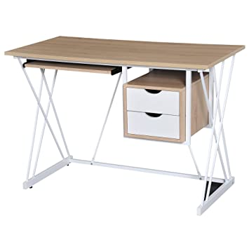 Homcom Bureau Informatique multimédia Design Contemporain 110L x 55l x 76H  cm Tablette + 2 tiroirs 24a2c5046c79