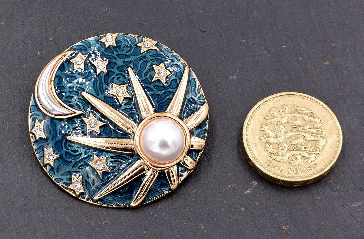 mit handbemalter Perlglanz-Emaille und Kunstperle Brosche mit Mond-und-Sonne-Motiv
