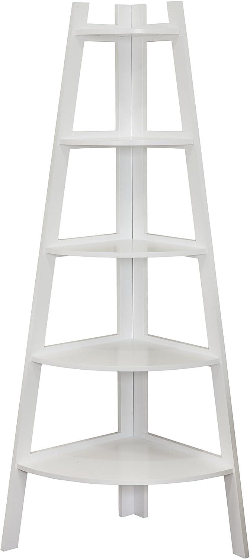 Danya B 5 Tier Corner Ladder Display Bookshelf, White