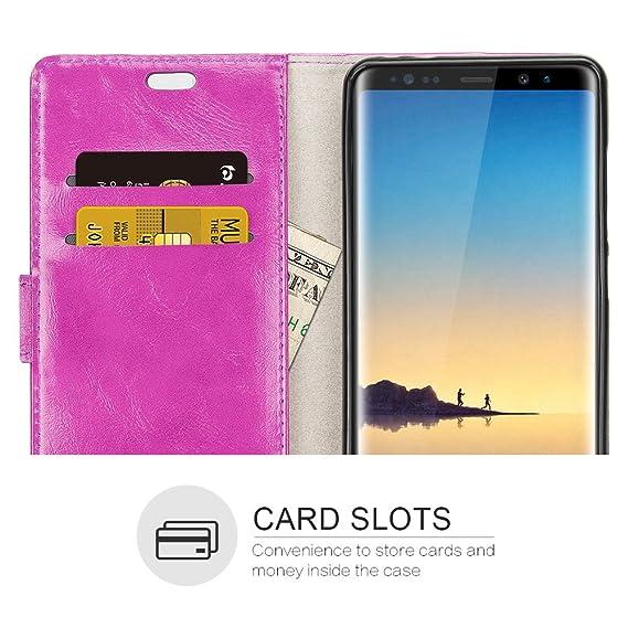 RIFFUE Funda Samsung Galaxy Note 8, Carcasa Ultrafina con Tapa Flip de Cuero Sintético + Silicona Elegante Libro con Cierre Magnético, Ranuras, ...