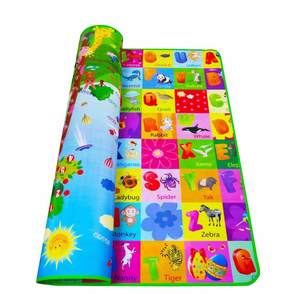 Alfombra portátil de 2 lados para niños y niñas para jugar al gateo, para interior y exterior, alfombra de juego educativa para bebé, de espuma suave random Talla:1.2 * 1.8m UxradG