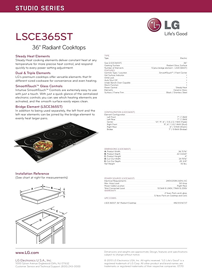 Amazon.com: LG lsce365st: Studio series-36 radiante Cooktop ...