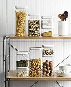 Airtight Food Storage Container, Transparent Grain Snack Storage Jar, Kitchen Storage Kit With Lock Lid, BPA-Free, 4 Pieces