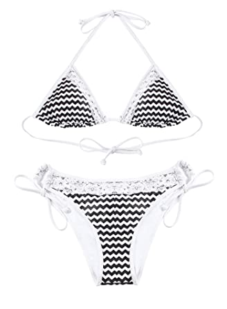 0024e094a66 Reteron Women's Petiet Tie Side Bottom Lace Triangle Bikini Bathing Suits (Black  Chevron, Small