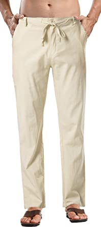 Mens Cotton Linen Casual Pants Elastic Waist Loose Fit Trousers Pant//Mens Relaxed-Fit Linen Pant with Drawstring