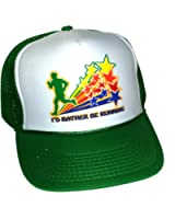 I'd Rather Be Running Rainbow Mesh Trucker Hat Cap Snapback