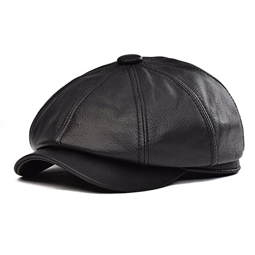 6f5962c93e6 VOBOOM 100% Lambskin Leather Ivy Hat Eight Pannel Cabbie Newsboy Beret Cap  (Black