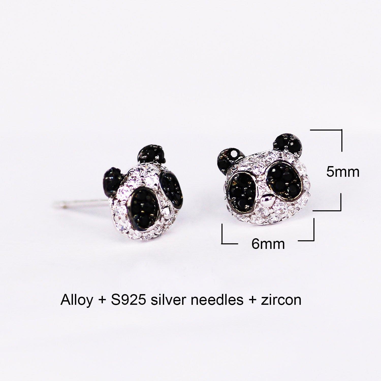 Black White Panda Bear Stud Post Earrings for Womens