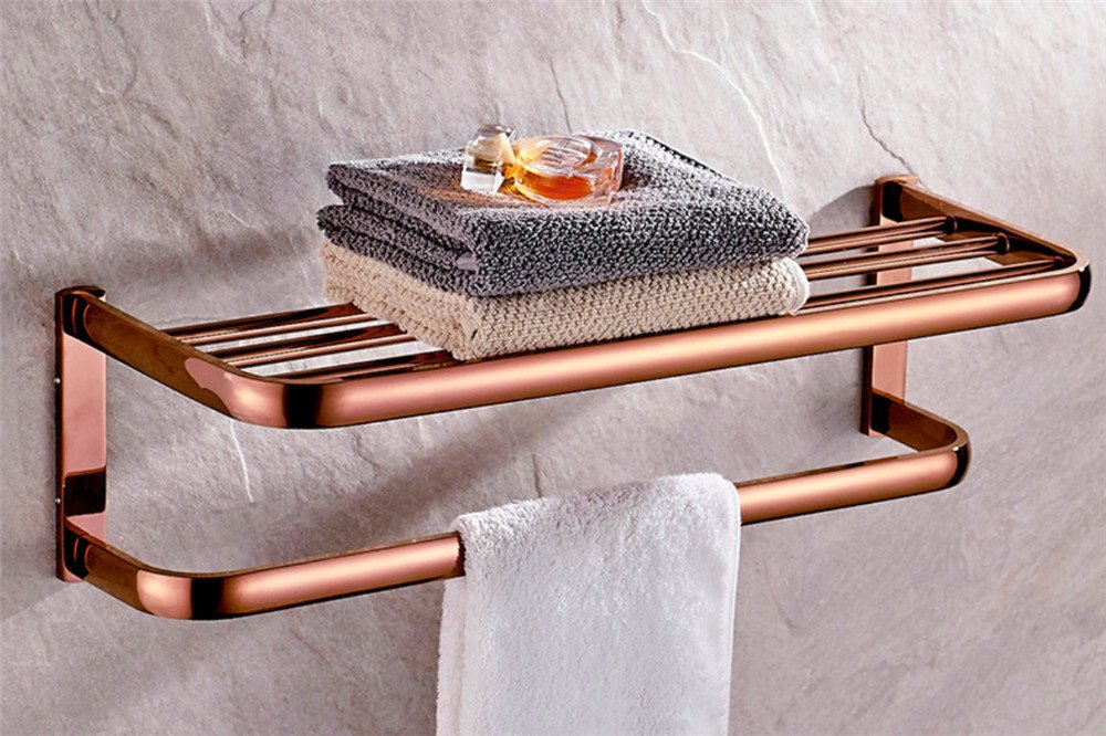 Double Towel Rack Continental Full Brass Rose Gold Towel Rack Bathroom Towel Bar Double Towel Rack