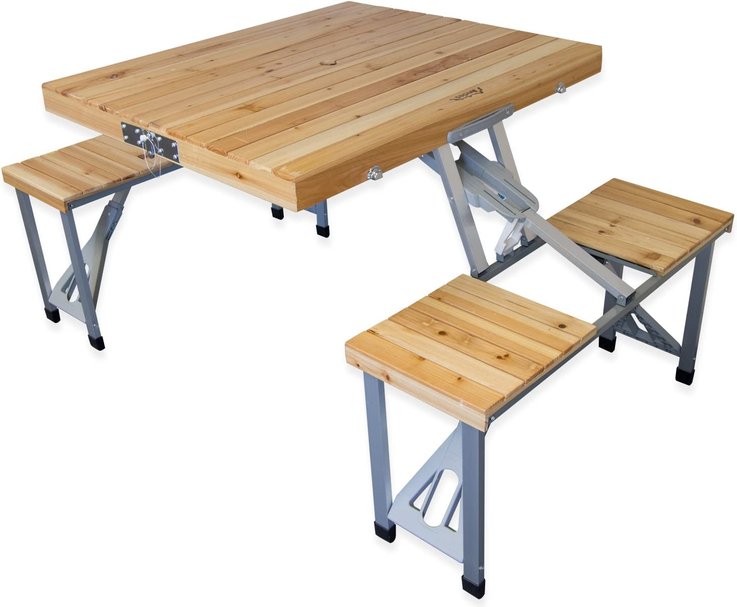 - Andes Wooden Folding Portable Camping/Picnic Outdoor Table & Stool