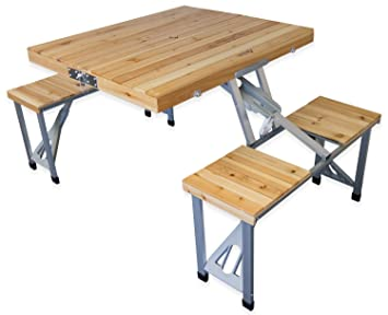 Exceptionnel Andes Wooden Folding Portable Camping/Picnic Outdoor Table U0026 Stool Chair Set