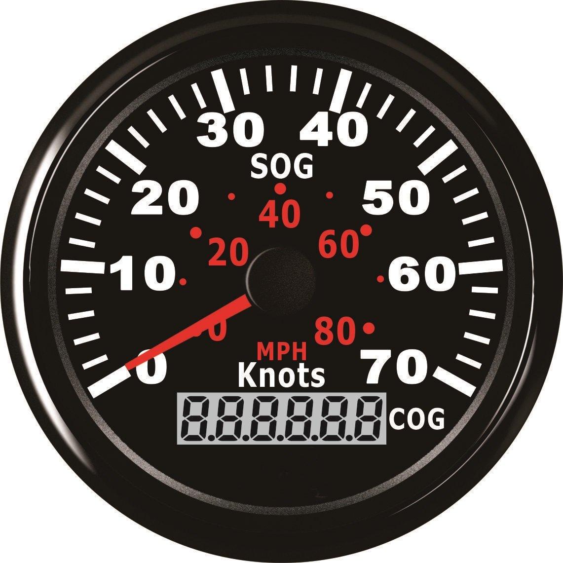 GPS tachimetro contachilometri 0 –  70 nodi 0 –  80 mph per barca yacht navi con retroilluminazione 3 –  3/20, 3 cm (85 mm) 12 V/24 V 3cm (85mm) 12V/24V ELING
