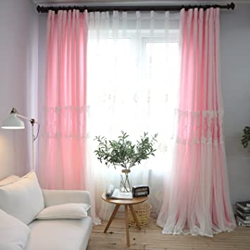 Amazon.com: YOU SA Pink Curtains for Living Room White Lace Curtain ...