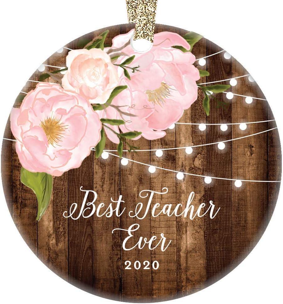 Best Teacher Ever 2020 Christmas Ornament Student Parent Thank You End of School Year Birthday Favorite Elementary Grade Home School Tutor 3 Flat Ceramic w Gold Ribbon /& Free Gift Box