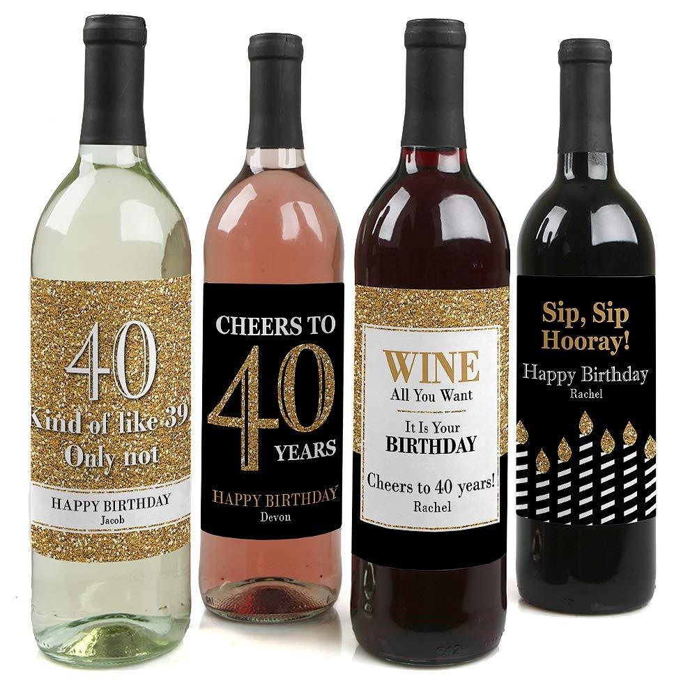 Custom Adult 40th Birthday - Gold - Personalized Birthday Party Wine Bottle Labels - Birthday Gift Idea - Set of 4 Big Dot of Happiness LLC BT8045wl-custom