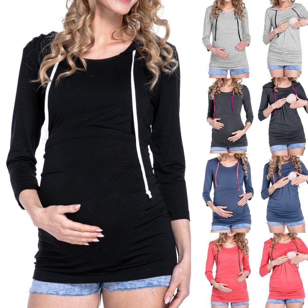 ITISME FRAUEN BLUSE Damen Umstandsshorts mit Langen /Ärmeln und Kapuze T-Shirt