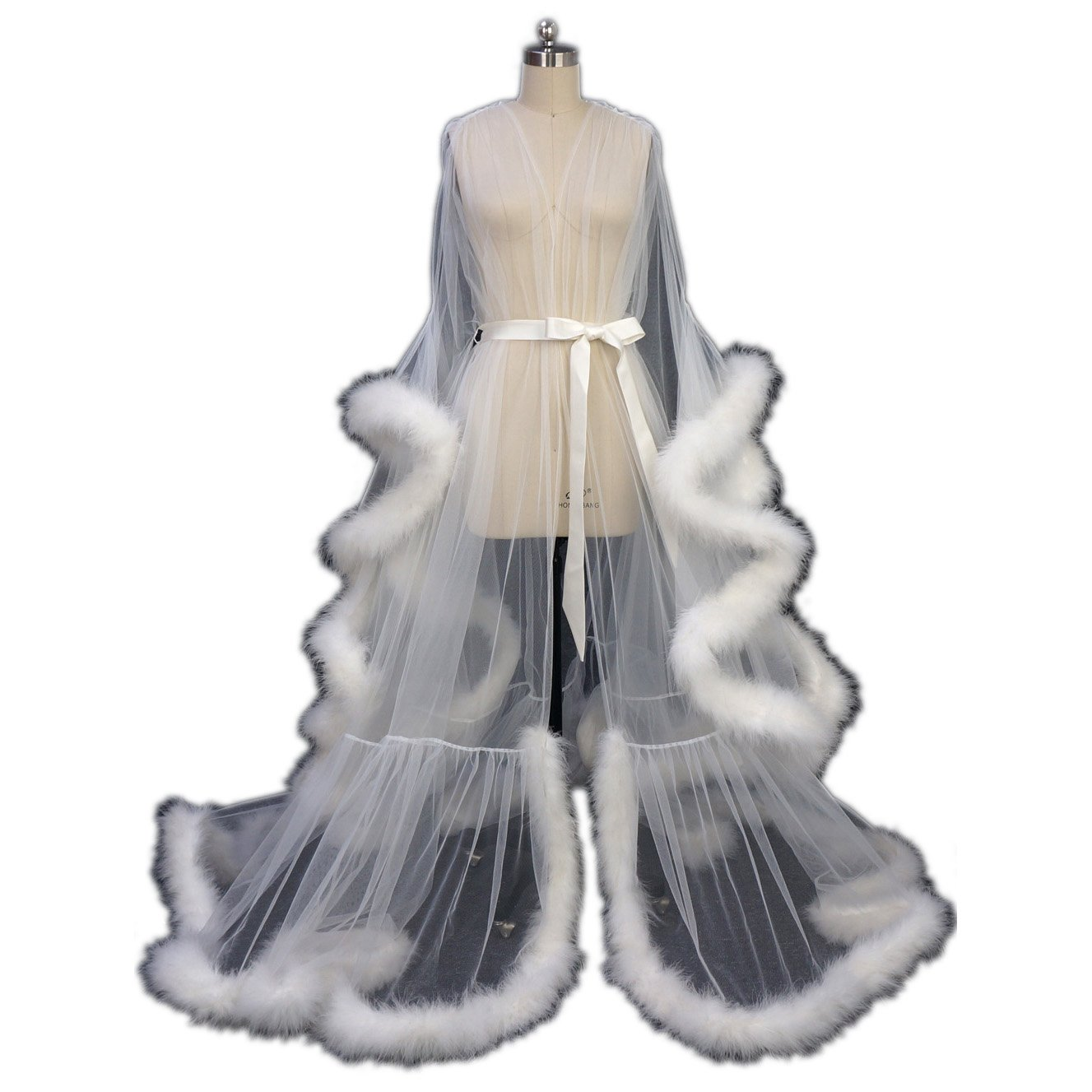 Feather Bridal Robe Tulle Illusion Long Wedding Scarf New Custom Made