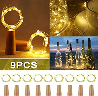 9 unidades】 20 luces LED de 2 m para botellas, botellas de vino ...
