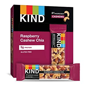 KIND Bars, Raspberry Cashew & Chia, Gluten Free, 1.4oz, 4 Count (Pack of 12)