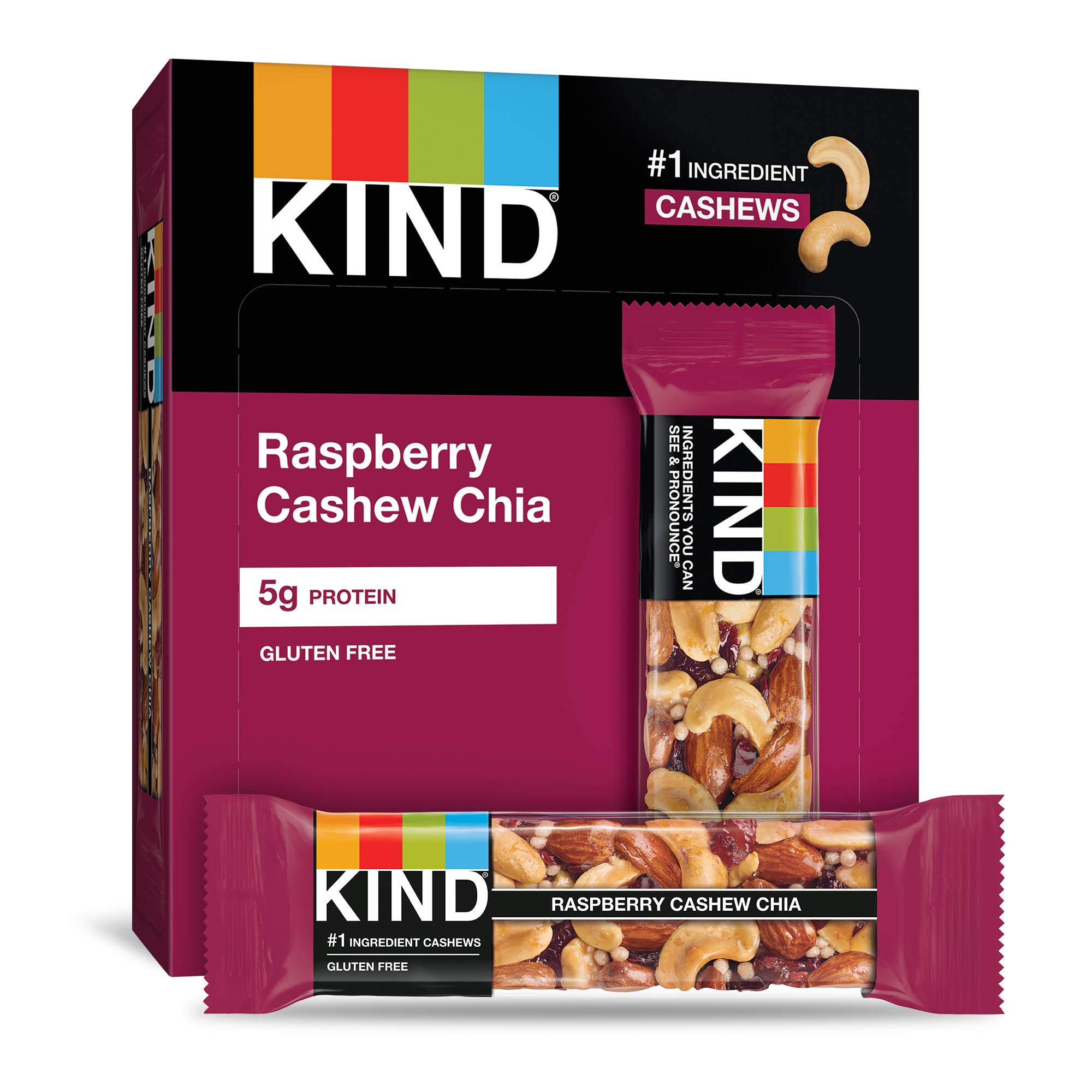 KIND Bars Raspberry Cashew & Chia, Gluten Free, 12 Count (Pack of 12)