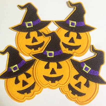 set of 10pcs pumpkin w star hat halloween iron on sew on cloth embroidered patches