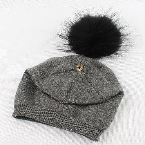 Tinksky mujeres sombreros de invierno de moda de punto de gorro beanie sombrero caliente con la bola mullida superior para las mujeres niñas (gris oscuro)