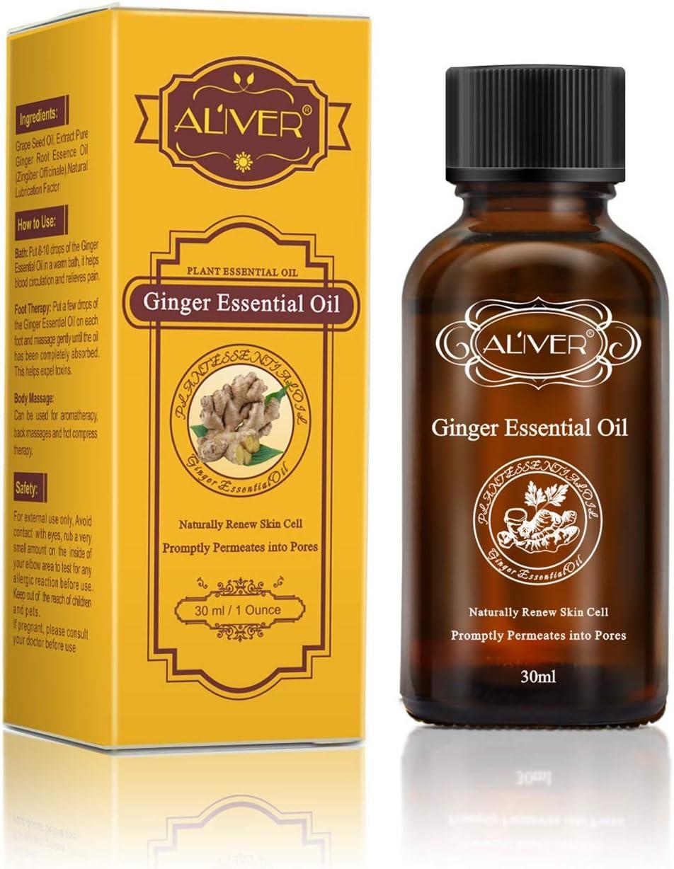 Drenaje linfático Aceite de jengibre, para la aromaterapia y como aceite base para masajes [100% natural puro] 30 ml