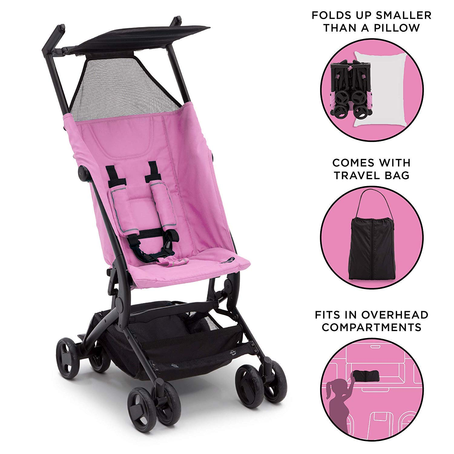 The Clutch Stroller By Delta Children Lightweight Compact Folding Stroller Includes Travel Bag Fits