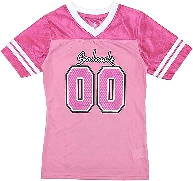 Outerstuff Seattle Seahawks Logo #00 Pink Dazzle Girls Youth Jersey