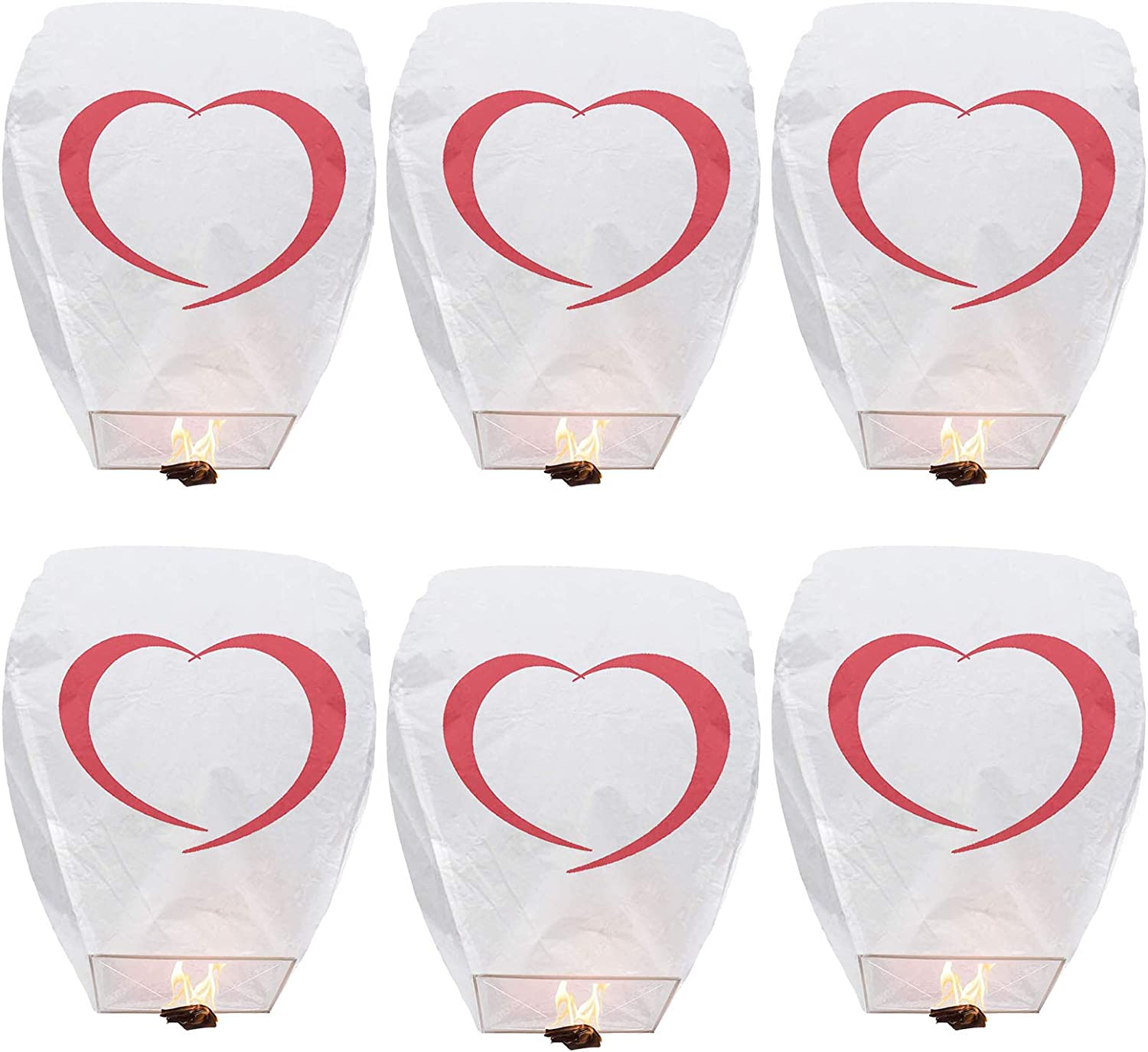 Sky Lanterns Floating Lantern No Assembly Required 100% Biodegradable Environmentally for Weddings, New Years, Festivals, Memorials & More (6-Pack)