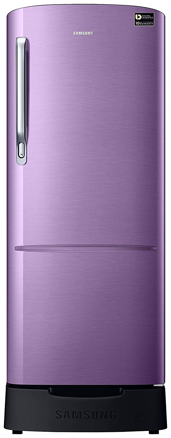 Samsung 215 L 4 Star Inverter Direct-Cool Single Door Refrigerator (RR22T383XRU/HL, Luxe Purple, Base Stand with Drawer)