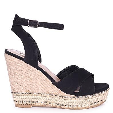 Damen Sandalen Schwarz Schwarz, Schwarz - Schwarz - Größe: 36.5 Linzi