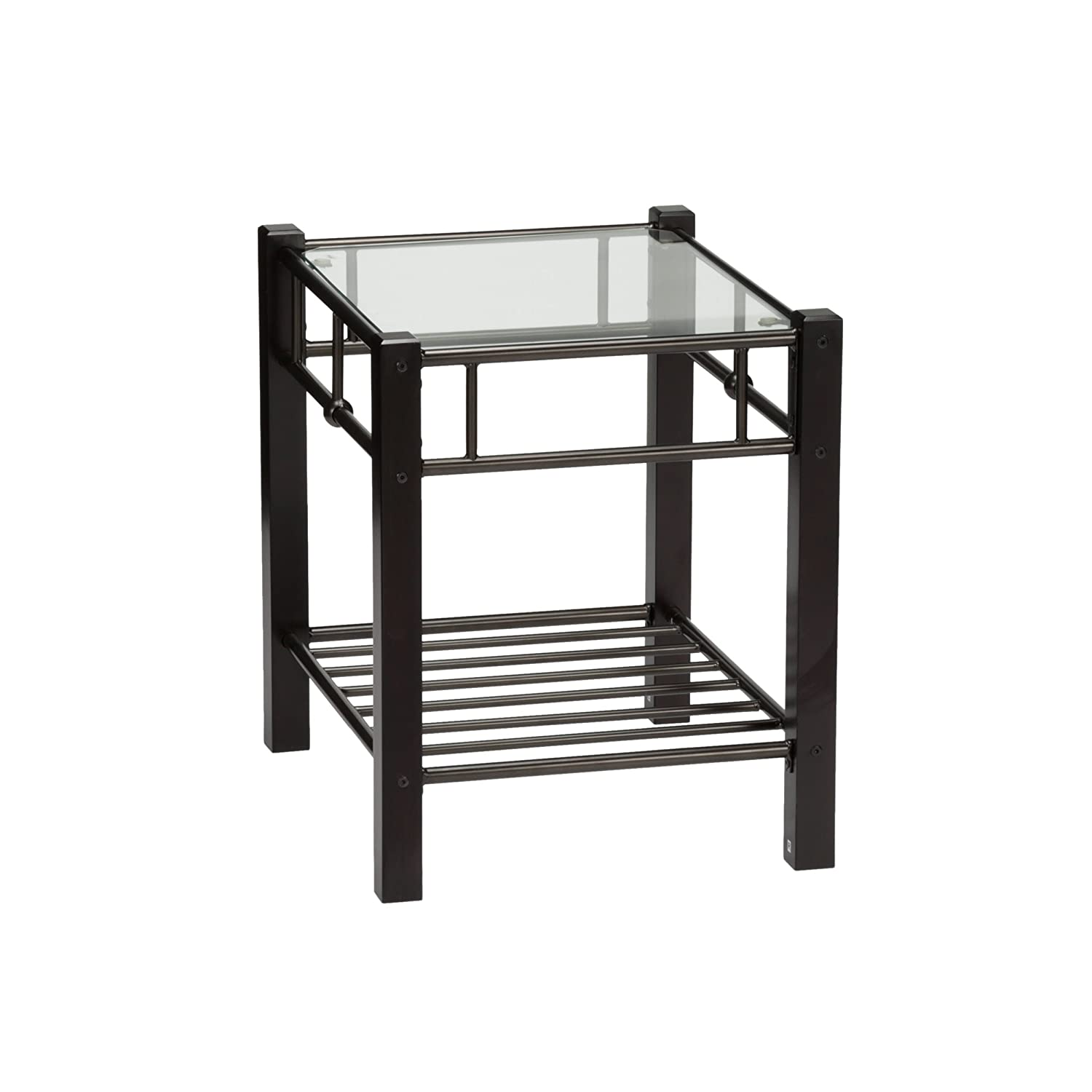 Fashion Bed Group Leggett /& Platt 54901N Scottsdale Metal and Wood Nightstand with Glass Surface Black Speckle Finish Twin