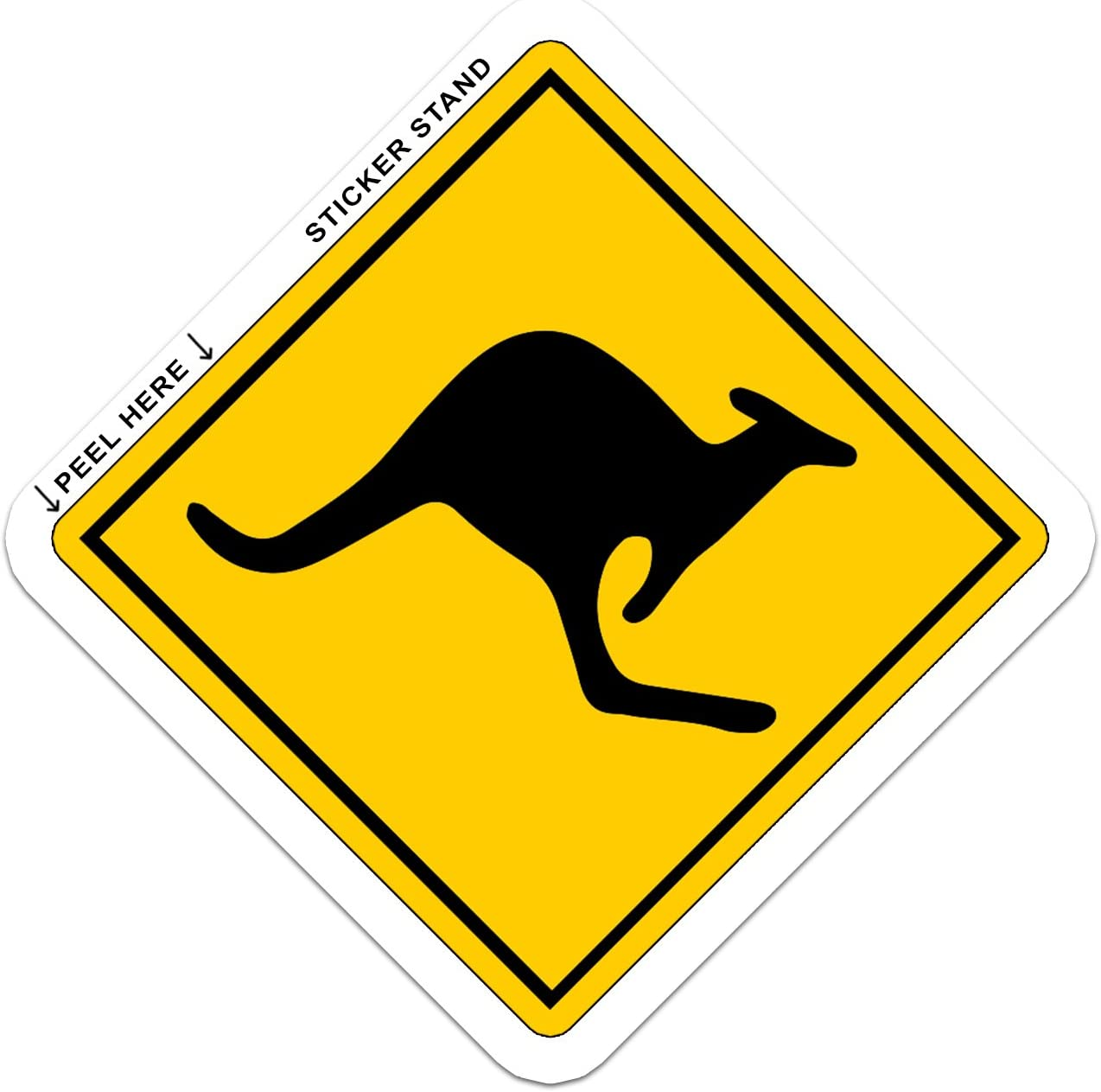 "WARNING Kangaroo Zone Australia bumper sticker 4"" x 4"""