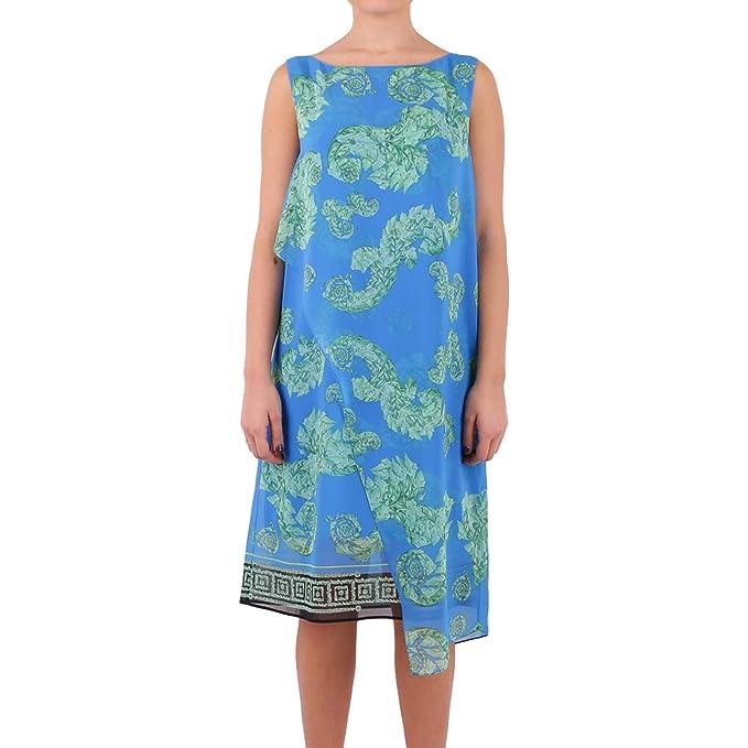 Versace Collection Mujer G35457g603738g7375 Azul Claro/Verde Poliéster Vestido