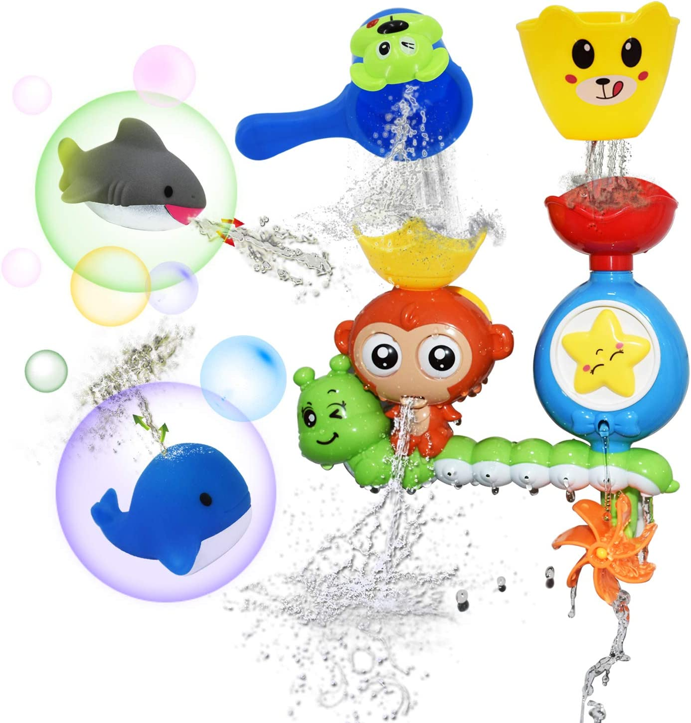 HEDGBOBO Baby Bath Toy Monkey Starfish Flow Spout Make Sprinkle Spinning Gear, 1Water Scoop with Dog face 1 Shark Squirt 1 Whale Squirt for a 1 2 3 Year Old Kids