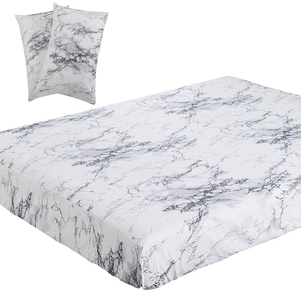 Vaulia Lightweight Microfiber Fitted Sheet, White Marble Pattern - Queen Size