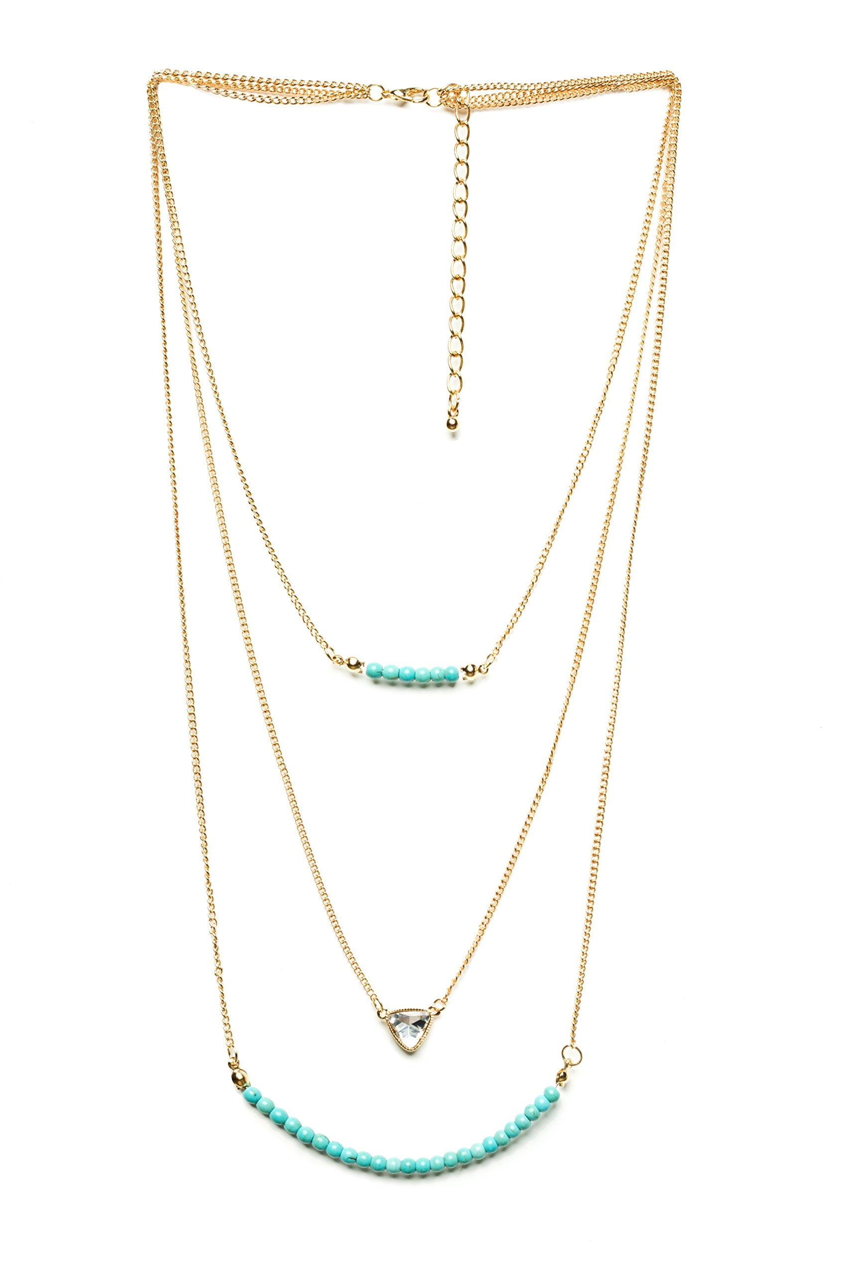 Land of Love Seed Bead and Crystal Gold Chain Summer Necklace With Turquoise Beads