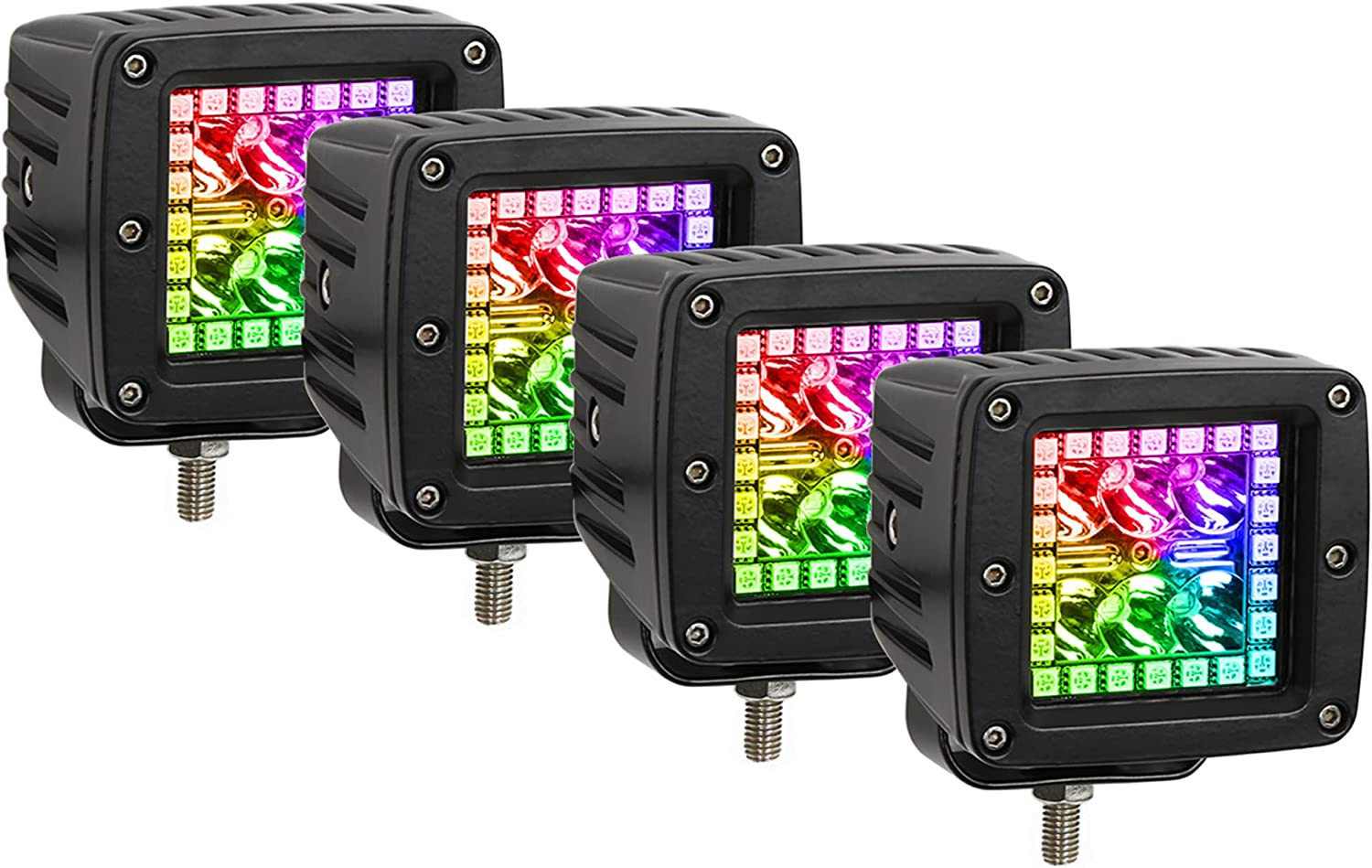 Nicoko 3 Inch 18w RGB led Works Light Offroad Lights Square pods + Waterproof Controller for Lights Truck Car Boat Driving Lamp Pack 4