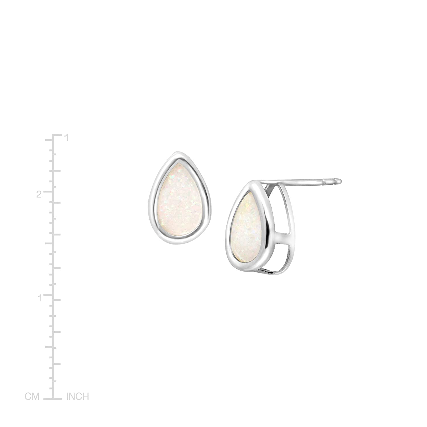 56903f33f Amazon.com: Natural White Opal Teardrop Stud Earrings in Sterling Silver:  Jewelry