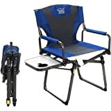 Timber Ridge Director's Chair Camping Folding Easy Carry with Carry Straps Padded Blue Full Back, Side Table, Armrest, Indoor, Outdoor Support 300 lbs