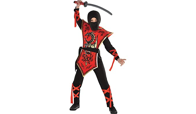 Ninja Assassin Halloween Costume for Boys, Extra Large, with Included Accessories, by Amscan