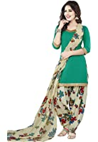 Ishin Women's Synthetic Green & White Bollywood Printed Unstitched Salwar Suit Dress Material (Anarkali/Patiyala) With Dupatta