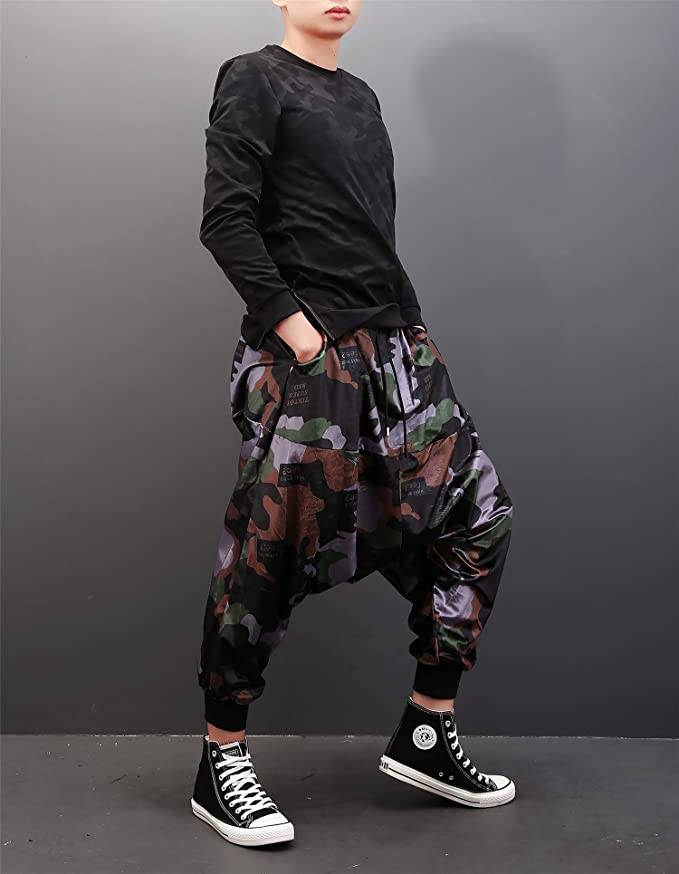 Pandalady Mens Camo Jogger Drop Crotch Street Dance Trousers Casual Sweat  Pants Tracksuit: Amazon.co.uk: Clothing