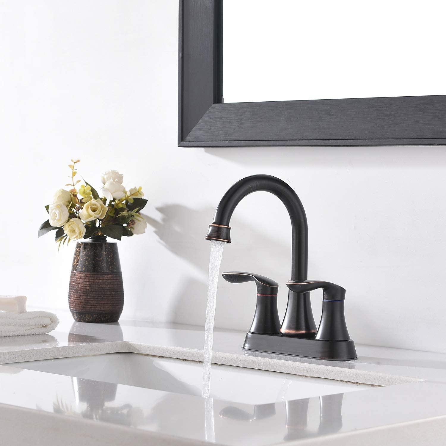 Friho Lead-Free Modern Commercial Two Handle Oil Rubbed Bronze Bathroom Faucet, Bathroom Vanity Sink Faucets with Drain Stopper and Water Hoses - -