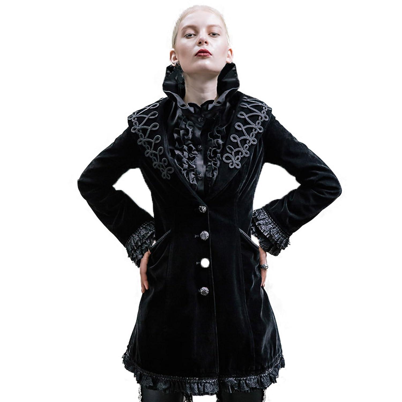Gothic Punk レディース 復古する欧米宮廷のアウター ロングタイプ ジャケット 流行コート B01N5AQX38 XS|ブラック ブラック XS
