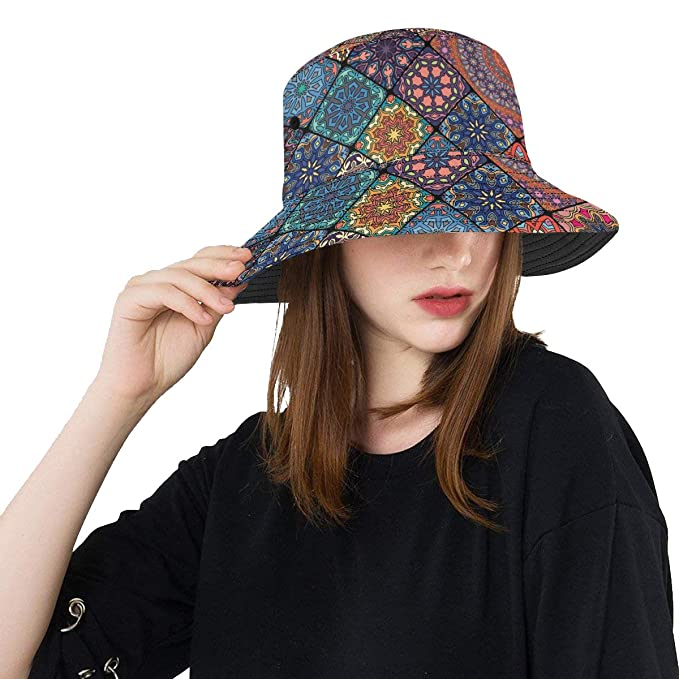 68ca9b0b0ba Ancient Floral Mandala Tribal Style New Summer Unisex Cotton Fashion  Fishing Sun Bucket Hats for Kid