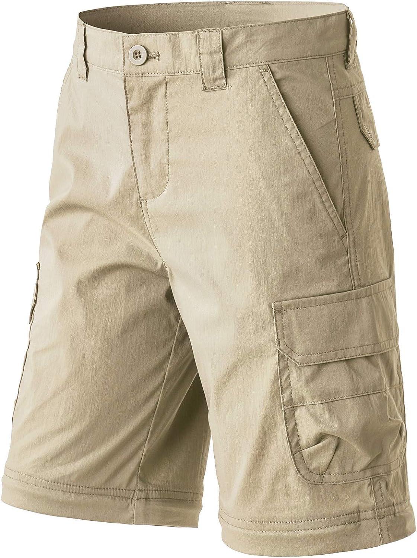 Outdoor Camping Pants UPF 50 Quick Dry Convertible Zip Off//Regular Pants CQR Kids Youth Hiking Cargo Pants
